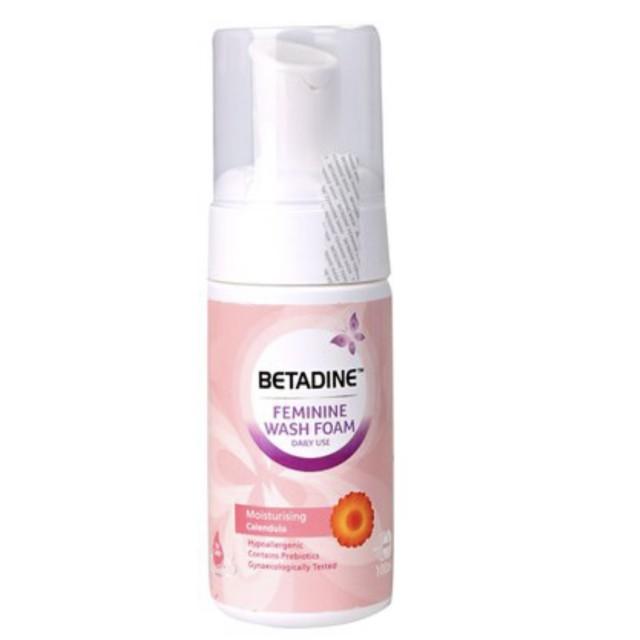 Betadine Feminine Wash Foam Moisturizing Calendula (100ml) Bọt vệ sinh phụ nữ hàng ngày