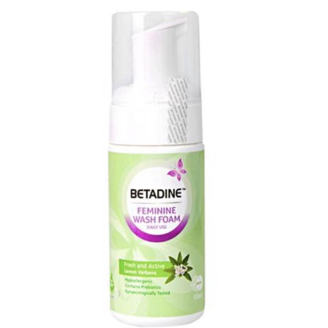 Betadine FW Wash Foam Fresh and Active (100ml) Bọt vệ sinh phụ nữ hàng ngày tươi mát năng động