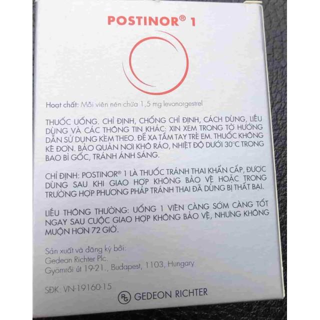 Postinor 1.5mg H/1 viên ngừa thai khẩn cấp