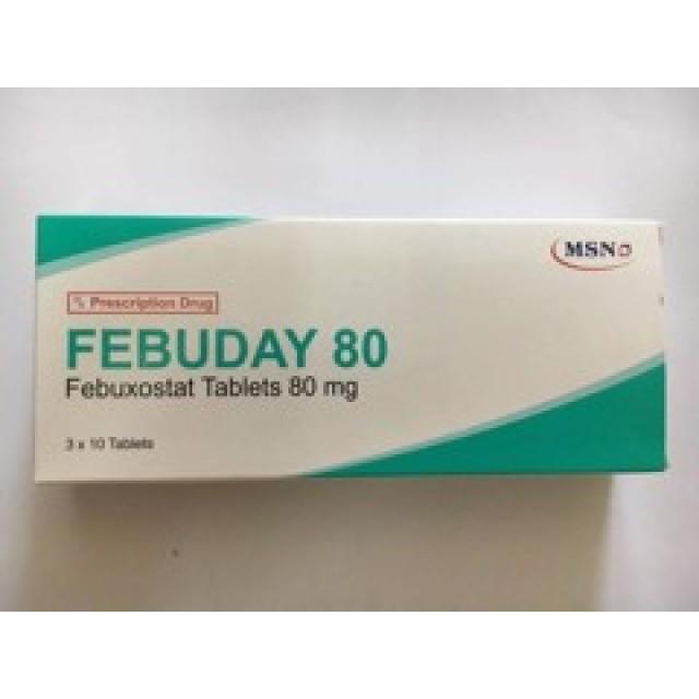Febuday 80Mg H/30 viên Điều trị tăng a-xít uric máu ở bệnh nhân gút.