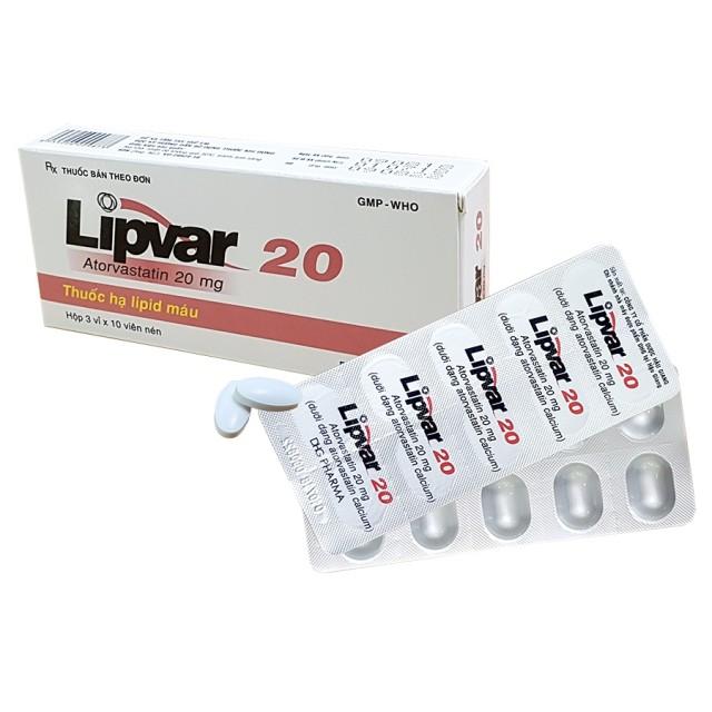 Lipvar 20mg H/30 viên (rối loạn lipid máu)