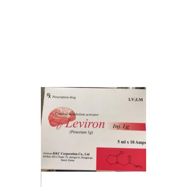 Leviron Piracetam 1g Korea H/10 ống 5ml Điều trị chứng sa sút trí tuệ.