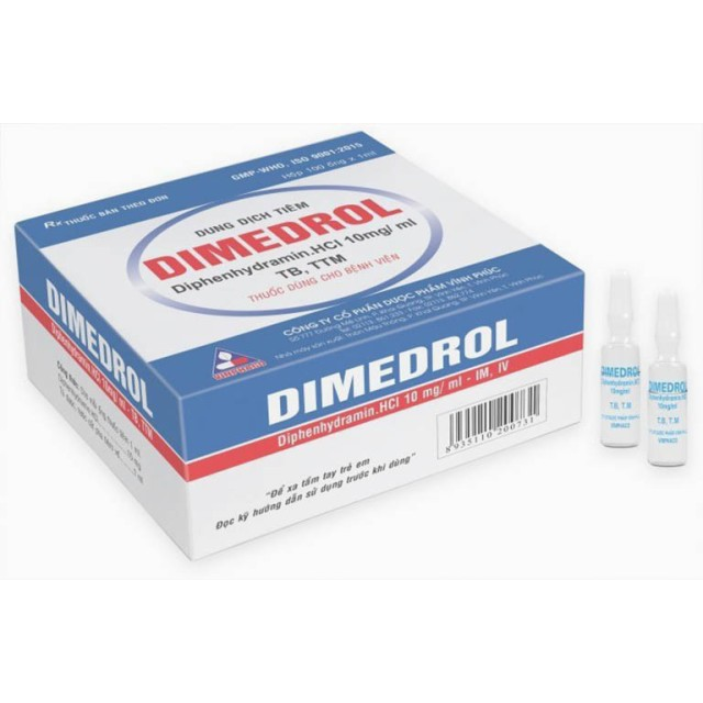 Dimedrol H/100 ống 10 mg/ ml ( Diphenhydramine 10 mg/1 ml Vĩnh Phúc)