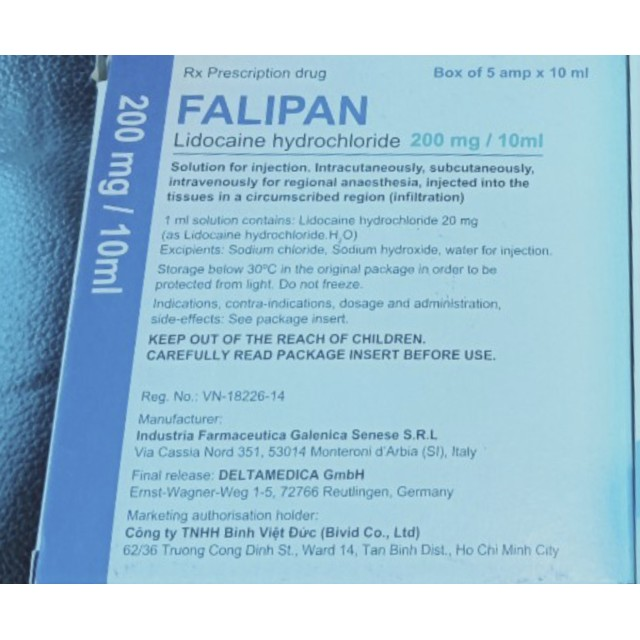 Falipan 200mg/10ml H/5 ống 10 ml