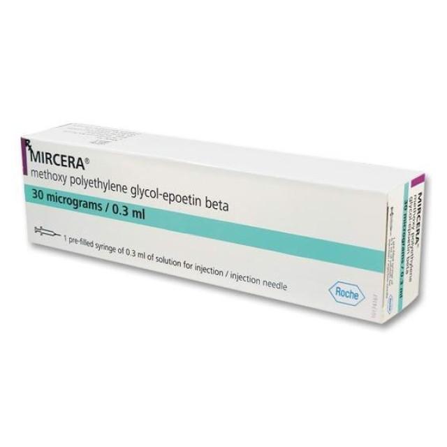 MIRCERA 30 MCG/0,3 ML INJ H/1bơm tiêm (Thiếu máu do bệnh thận mãn tính)