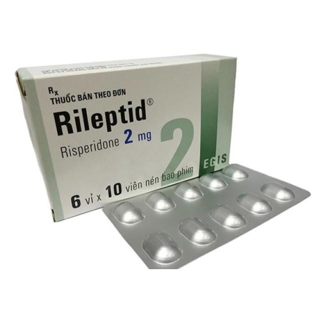 Rileptid 2mg H/60 viên ( Risperidone 2mg)Thuốc điều trị bệnh tâm thần phân liệt của Hungary