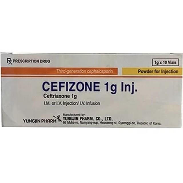Cefizone 1g Inj H/10 lọ ( Ceftriaxone 1g điều trị nhiễm khuẩn mức độ nặng.