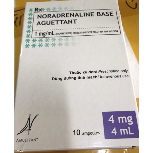 Noradrenalin base Aguettant 1mg/ml H/10 ống