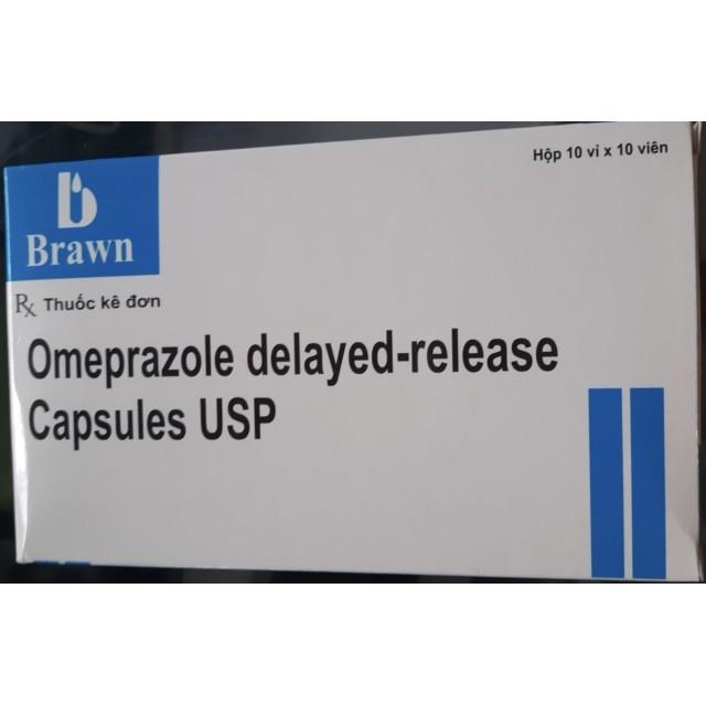 Omeprazole 20 mg Brawn Delayed - Release Capsules USP 20mg hộp 100 viên