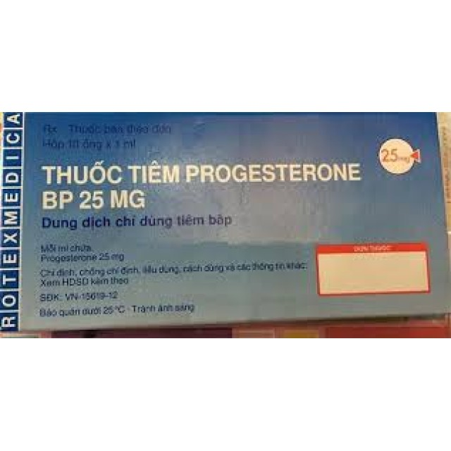 Thuốc tiêm Progesterone Bp 25mg H/10 ống 1 ml