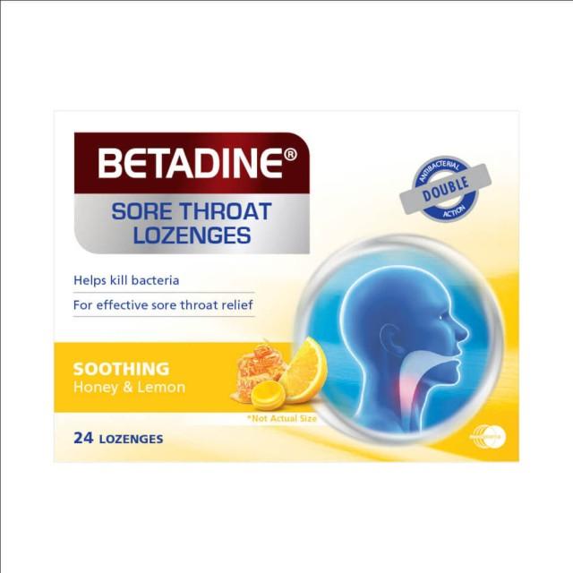 Viên ngậm ho vị chanh và mật ong Betadine H/24 viên
