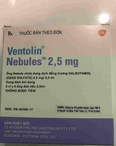 VENTOLIN NEBULES 2,5 MG/2,5 ML Tặng lẽ