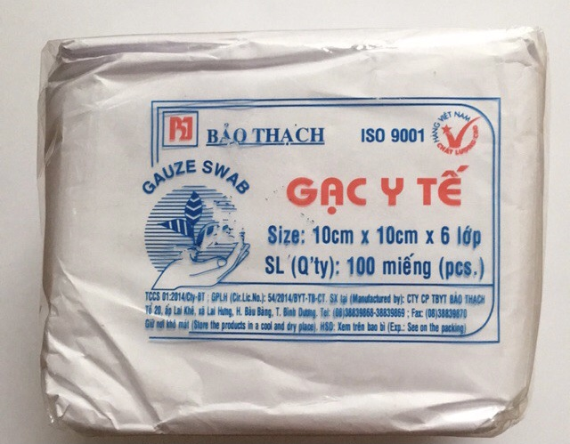 Gạc cục ( GẠC Y TẾ 10 CM X 10 CM X 6 LỚP BẢO THẠCH) thùng/10 gói