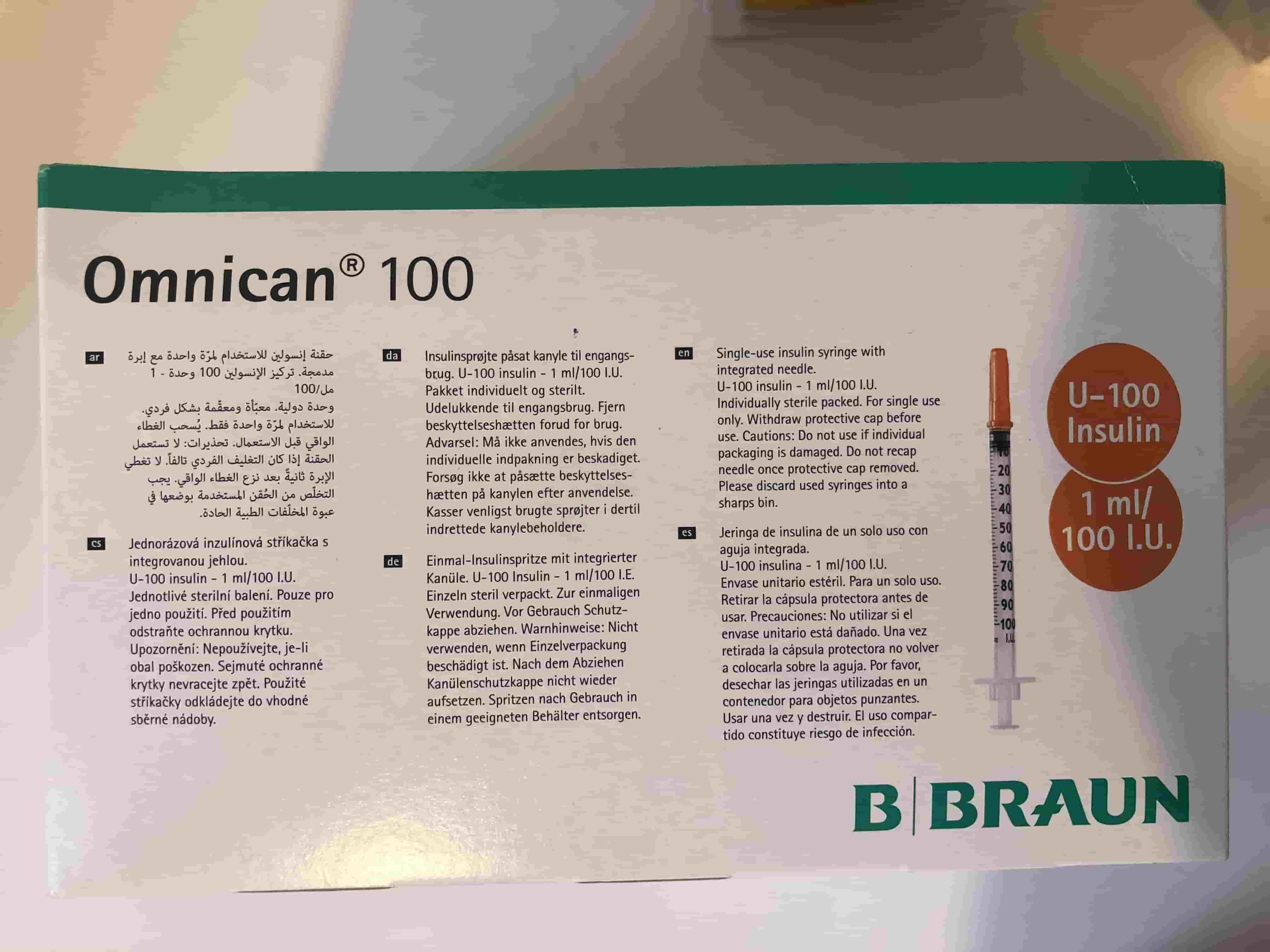 BƠM TIÊM 1 cc 100 BRAUN ( KIM ĐẦU ĐỎ KIM TIÊM TIỂU ĐƯỜNG) H/100 cây