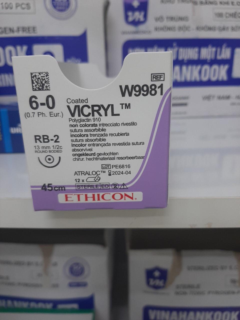 Chỉ phẫu thuật tổng hợp tự tiêu tiệt trùng Vicryl 6-0 M9981 Hộp/12 tép