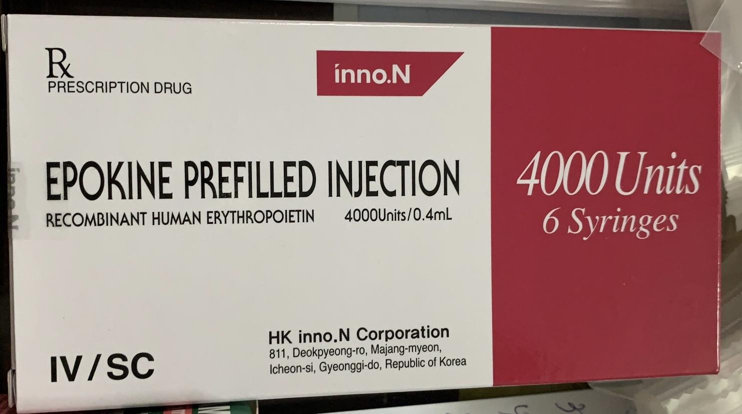 Epokine 4000 IU/0.4ML H/6 bơm tiêm ( điều trị thiếu máu do suy thận mạn)